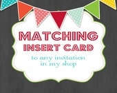 Matching Insert Card to any Invitation- Custom Printable