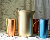 Vintage Pitcher and Cups Aluminum Pitcher Multi Color Aluminum Cups Retro Pitcher Backyard Picnic Metal Tumblers
