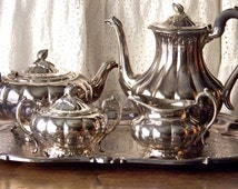 Vintage Sheffield Tea Service Coffee And Tea Set Silver Plate Melon Pattern Upscale Tea Service Melon Bud Finials Vintage 1940s