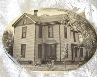 Vintage Old House Photo Pin 1898 St Louis House Victorian House Pin Lock Grandmas House