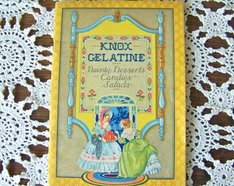 Vintage Recipe Booklet Knox Gelatine 1930 Old Recipes Jello Cookbook Dainty Desserts