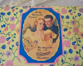 Vintage Candy Tin Whitman's Chocolate Tin 1992 Limited Edition Loving Couple Pink and Blue Button Box