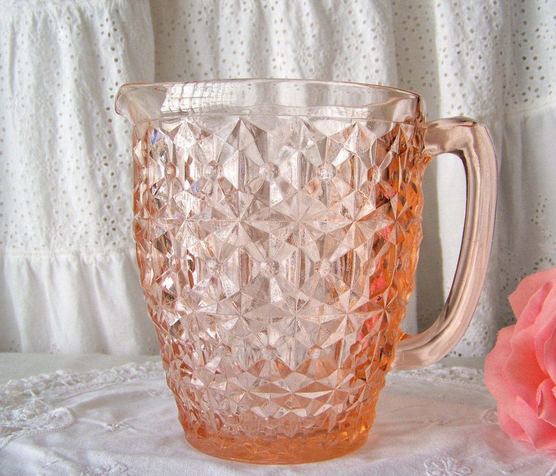 Vintage Pink Pitcher Depression Glass Pitcher Jeannette Glass
