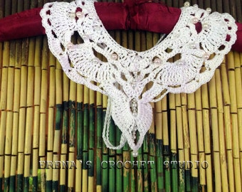 Crochet Art for Brides. Wedding collar. Handmade Necklace  with Crystals and Pearls.