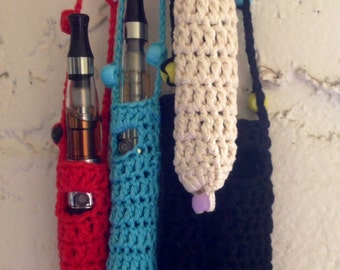 Crochet EGo Electronic cigarette Lanyard Holder necklace with beaded cord.