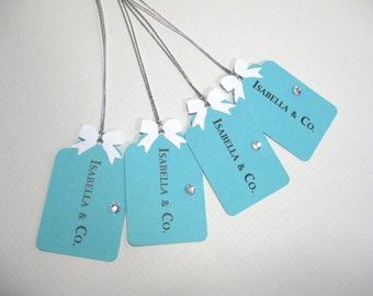 10 Personalized Favor Tags - Audrey Hepburn Breakfast at Tiff... Pool Blue - Aqua Blue Wedding - Bridal Shower Favor Tags - Baby Shower Tags