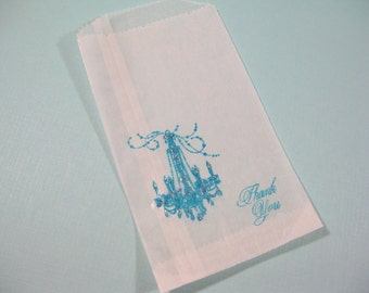 Glassine Favor Bags - Aqua Blue French Chandelier - Breakfast at Tiff... Bridal Shower Favor Bags - Wedding Treat Bags - Candy Buffet Bags
