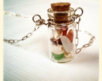 Glass bottle lake treasures necklace on sterling silver chain