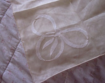 Large Vintage Hankie Butter Yellow Ribbon Bow Hankie