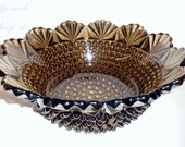 Glass Hobnail and Fans Serving Bowl, Brown and Perfect