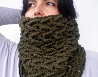 Ear of Wheat Cowl Super Soft mixed Cashmere  Wool Neckwarmer Woman Original Chunky Cowl NEW