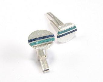 Sterling Silver Cuff Links, Sky, Sea, Wedding Jewelry, Modern, Contemporary