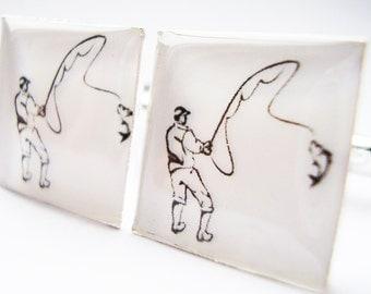 Fishing Cufflinks,  Fishing cuff-links, Silver Cufflinks, Angling Cufflinks, Cufflinks for Men, Cufflinks for Fishermen, Sport Cufflinks