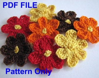Crochet Flower Pattern - Small, Six Petal Flower - Instant Download