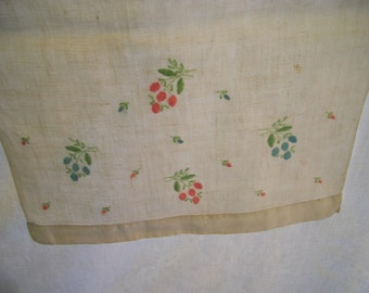 Vintage Runner or Dresser Scarf White Linen with Pink Blue and Green Floral Embroidery