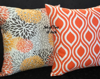 Decorative Accent Throw Pillow Covers -  Orange and White - Set of Two 18 Inch