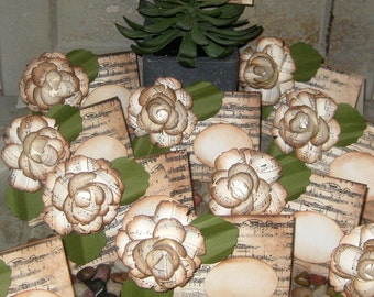 Wedding Place Cards Vintage Style French Elegant with Music Design with Hand Sculpted 3D FLowers Original Design