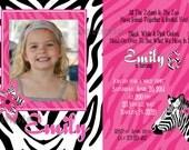 Zebra Party Photo Invitation Birthday Printable Pink Black White Zoo Safari Jungle Party