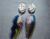 Long Feather Earrings, Dragon Jewelry, Cameo Earings, Bohemian Style, Boho Hippie Jewelry, Gifts for Teenage Girl, Polymer Clay Dangle