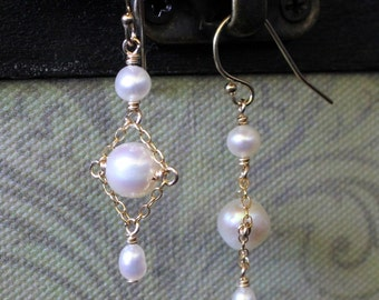 Pearl Dangle Earrings with 14ky Gold-filled