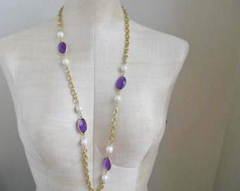 90s 1990s  Gold Chain Pearl Purple Necklace Statement