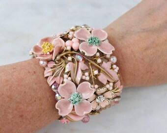 Pink Bride Leaf Floral Flower Rhinestone Wedding Statement Embellished Vintage Costume Jewelry Cuff Bracelet