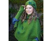 Green capelet with cowl (with a cap and warmers cuffs and spats