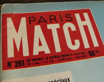 1954 Paris Match Journal, 50s Mid Century, Vintage advertisements, celebrity images, Retro magazine, Mixed Media mag, french art journal