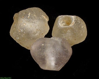 3 Clear Marvered Trade Beads African 61730
