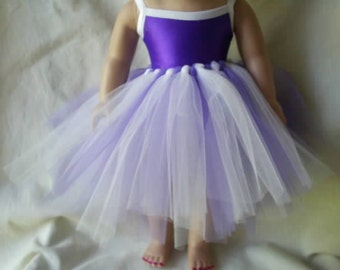 One piece purple suit with tutu for american girl doll