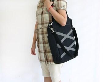 SALE - Black Tote Bag in Water-resistant Nylon / Three compartments / Laptop bag / Diaper bag / Shoulder bag / Beach - Denise