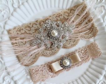 Bridal Gatsby Champagne rhinestone Garter Set. Crystal Applique Nude Stretch Lace Pearl wedding garter. FEATHER N CRYSTAL