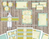 Vintage Snowflake Baby Shower Invitation Party Package,  Holiday invitation, green. orange, blue (PARTIAL INSTANT DOWNLOAD) - snowflake1