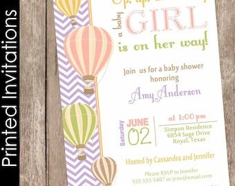 Printed Chevron Hot Air Balloon Baby Shower Invitation, up up and away, chevron baby shower invitation, coral, green, orange(FREE ENVELOPES)