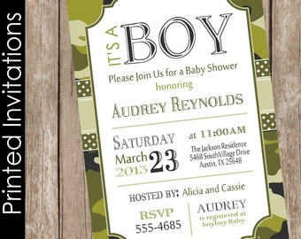 Printed Camo baby shower invitation, army baby shower invitation, camouflage baby shower invitation, green camo (FREE ENVELOPES)