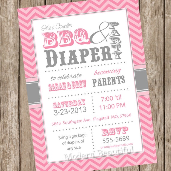 Chevron Couples BBQ And Diaper Baby Shower Invitation, Barbecue, Pink, Gray, Diaper Invitation