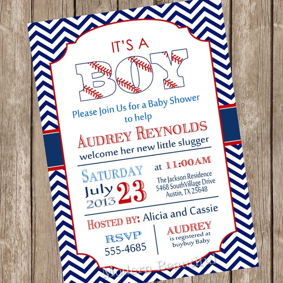 Baseball Baby Shower Invitation Red Navy By ModernBeautiful