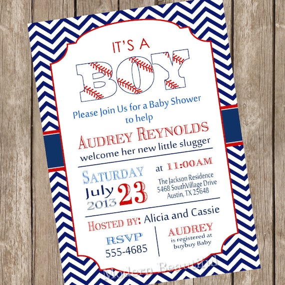 baseball baby shower invitation red navy chevron vintage