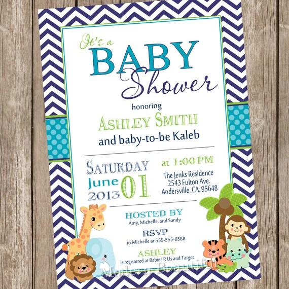 Safari Baby Shower Invitation: Items Similar To Boy Safari Baby Shower Invitation, Safari