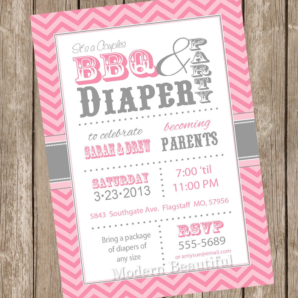 chevron couples bbq and diaper baby shower invitation 128270zoom