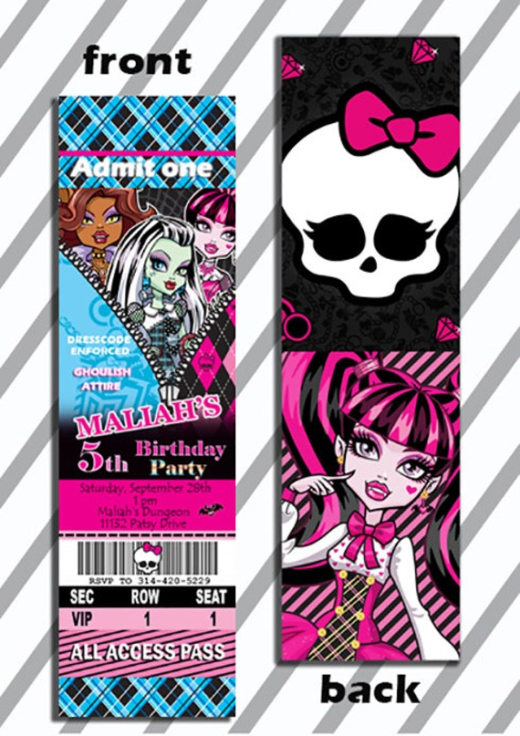double thick 2 sided monster high birthday ticket invitations, Birthday invitations