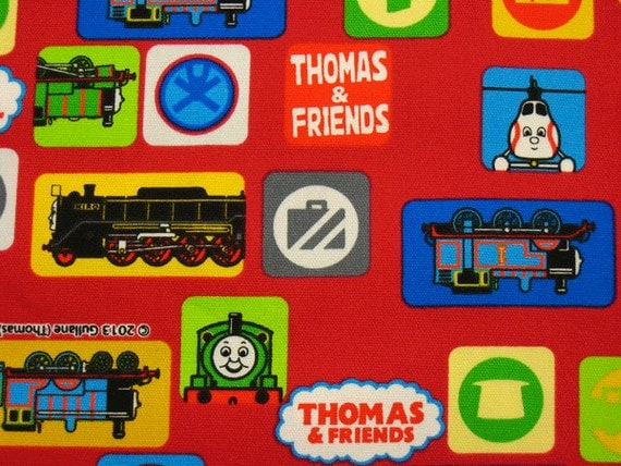 Items similar to thomas the train fabric red colour half for Train fabric by the yard