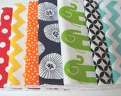Baby Burp Cloths- Set of 7- Gender Neutral Rainbow with White Chenille