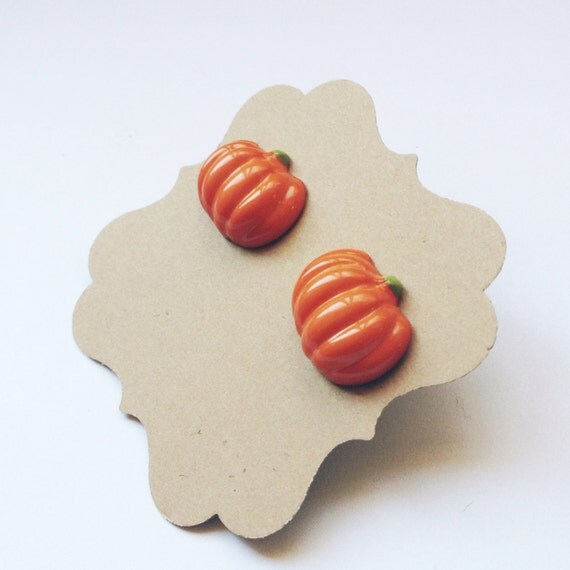 Pumpkin Earrings, Halloween, Fall, Thanksgiving, Titanium / Hypoallergenic posts