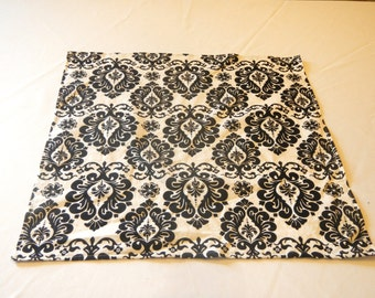Table Square, Black and White Damask, Ready to SHIP, Wedding, Bridal Shower, Baby Shower, Party, Home Decor, Custom Sizes