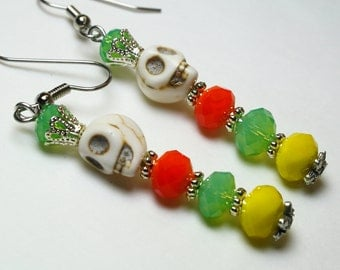 Sugar Skull Worm Earrings Day of the Dead Crystal Crown Jewelry