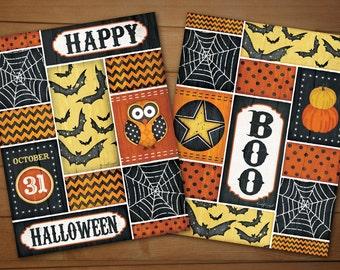 Happy Halloween - 12x16 Art print Set of 2, Fall and Halloween Decor -Bats, Spider Webs,Pumpkins,Star,Fun Patterns-Black,Yellow,Orange,White