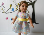 "Doll clothes 18"" dolls American Girl aqua yellow spring flowers dress three tiers ruffles handmade in USA"
