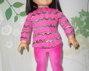 Doll clothes Bright pink Leggings set with sandals fits 18 in dolls like American Girl hand made in USA