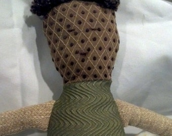 Boy Cloth Doll with Brown Hair